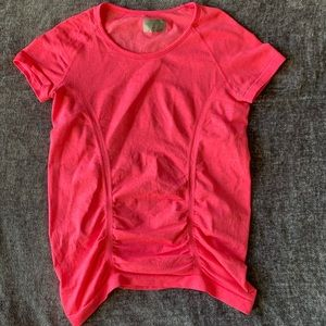Athleta Fastest Tracked Ruched Neon Pink Shirt XS